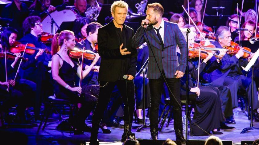 """Billy Idol, left, and Alfie Boe play off one another during """"Pete Townshend's Classic Quadrophenia"""""""