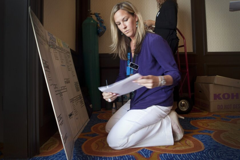 Sara Hahne, manager of the new Encinitas Kohl's, tracks applicants during the interview process. More than 500 people came to the La Costa Resort and Spa on Monday to interview for one of 150 jobs. The new store is slated to open Sept. 28.