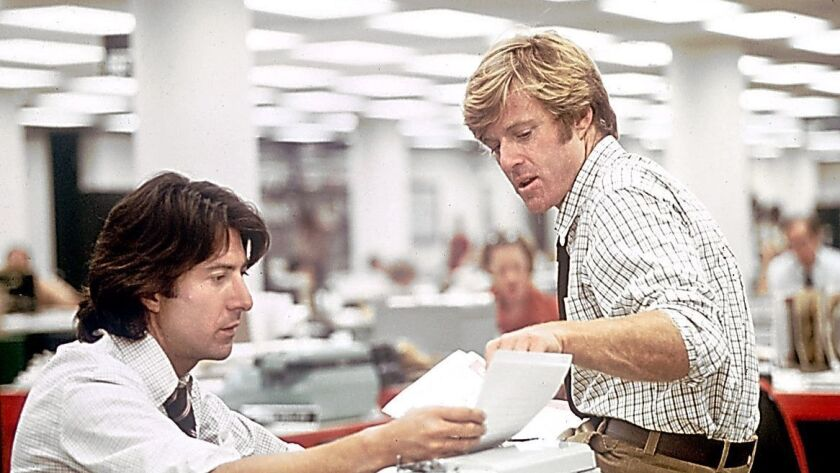 "One of William Goldman's greatest achievements as a screenwriter was to make investigative journalism suspenseful in ""All the President's Men."" Above: Robert Redford, right, and Dustin Hoffman portray Washington Post reporters Bob Woodward and Carl Bernstein."