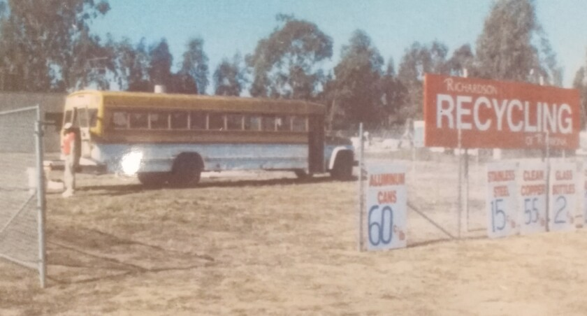 Richardson Recycling operated on a dirt lot with a school bus as its office and storage space in its early days in business.