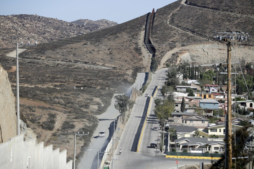 The border fence seen from Tecate, Mexico, Nov. 9, 2016.