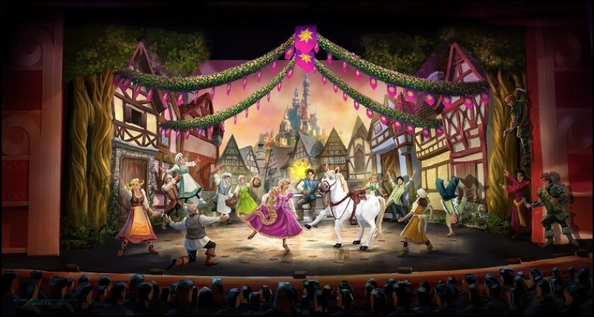 """A rendering of the stage show """"Tangled: The Musical,"""" which will debut in November aboard the Disney Magic cruise ship."""