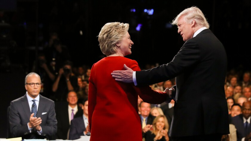 The much-discussed handshake between Hillary Clinton and Donald Trump at the first of three 2016 presidential debates.