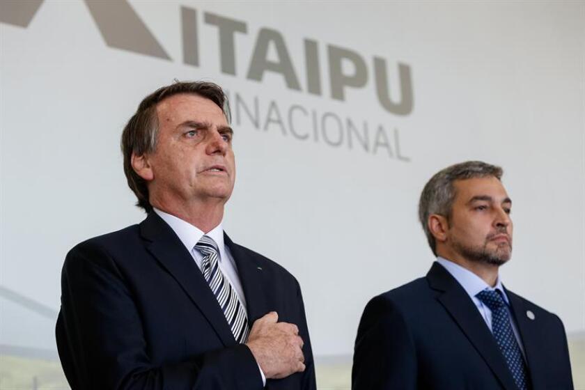 Photo sent from Brazil on Feb.26,2019 of President Mario Abdo Beniez (R) from Paraguay in a meeting with President Jair Bolsonaro (L) regarding the Itaipu dam in Brazil. EPA- EFE/ Alan Santos/BRAZIL/EDITORIAL USE ONLY