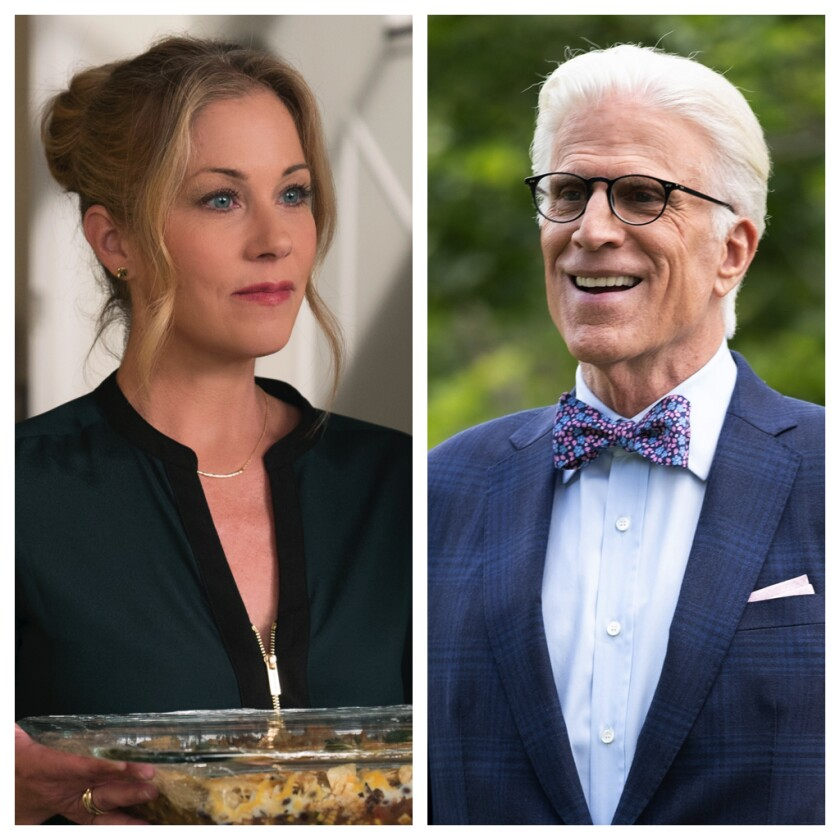 "Christina Applegate in ""Dead to Me"" and Ted Danson in ""The Good Place."""