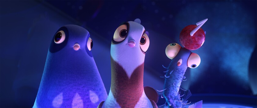 """Three pigeons, each with a different look, in the animated """"Spies in Disguise."""""""