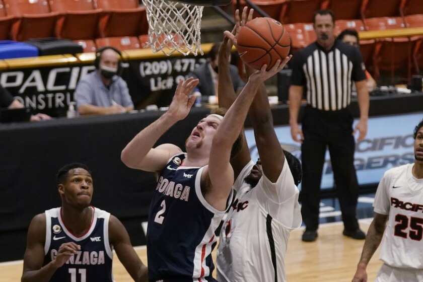 Gonzaga forward Drew Timme (2) goes to the basket against Pacific forward Jordan Bell (1) during the first half of an NCAA college basketball game in Stockton, Calif., Thursday, Feb. 4, 2021. (AP Photo/Rich Pedroncelli)