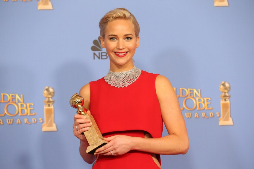"""Jennifer Lawrence wins for Best Performance by an Actress in a Motion Picture - Musical or Comedy, for """"Joy"""" at the 73rd Annual Golden Globe Awards show at the Beverly Hilton Hotel on Jan. 10, 2016."""