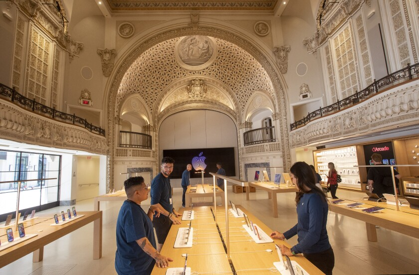 The ground level view inside the new Apple Tower Theatre. The store is opening Thursday.