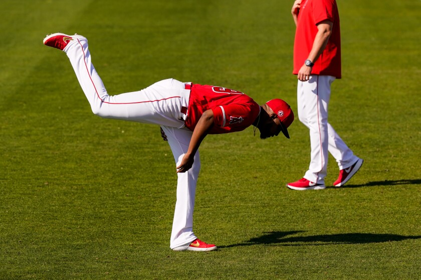Angels pitcher Julio Teheran warms up at Tempe Diablo Stadium on Feb. 18, 2020, in Tempe,