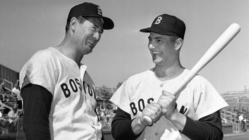 Ted Williams, left, and Carl Yastrzemski.