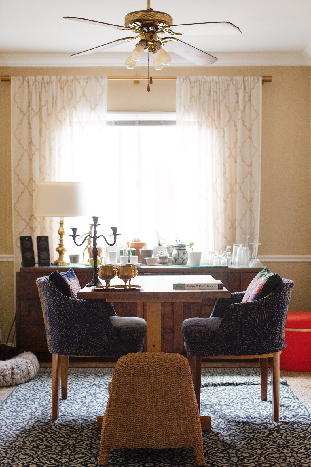 McNeill's dining room contains several items found on the side of the road, including her two blue dining room chairs.