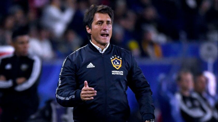 Galaxy coach Guillermo Barros Schelotto reacts to a play against the Houston Dynamo on April 19.