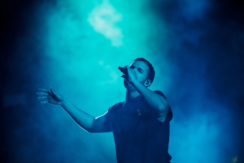 Rapper Drake performs on the main stage of the Coachella Valley Music and Arts Festival in Indio.