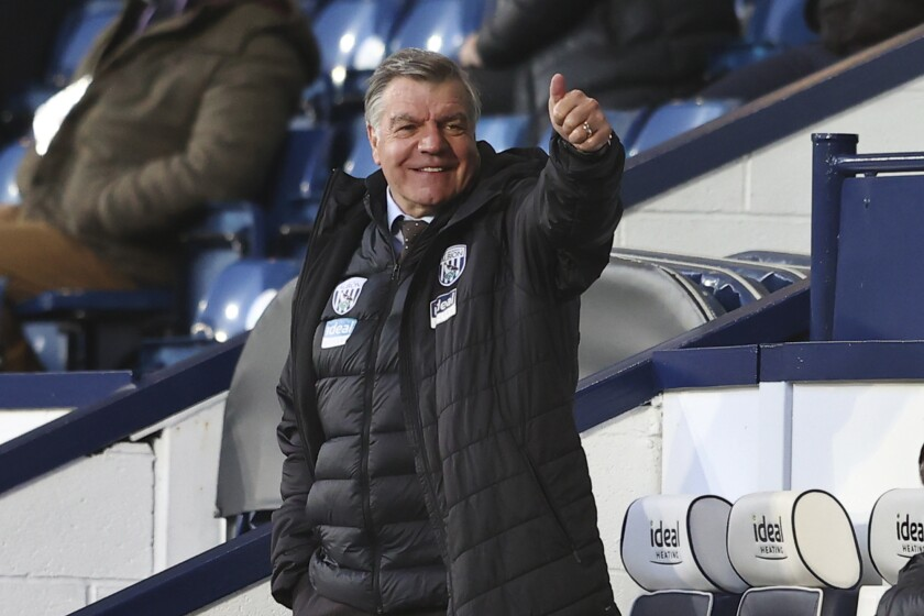 West Bromwich Albion's manager Sam Allardyce gives the thumbs-up during an English Premier League soccer match between West Bromwich Albion and Southampton at The Hawthorns in West Bromwich, England, Monday April 12, 2021. (Michael Steele/Pool via AP)