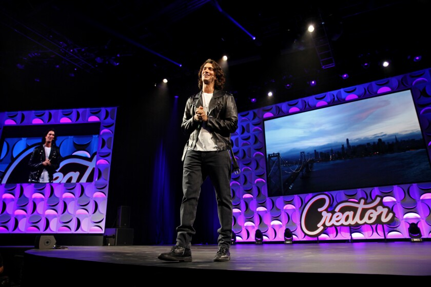 Adam Neumann, who stepped down as CEO of WeWork on Tuesday, speaking in San Francisco in 2018.