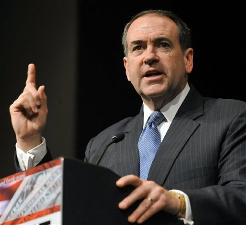 FILE - In this Nov. 16, 2008 file photo, Mike Huckabee speaks in Duluth, Ga.  It's been six months since voters handed the White House to President Barack Obama, and in the minds of a lot of Iowa activists that means only one thing - it's time to start the campaign again.  (AP Photo/Gregory Smith,