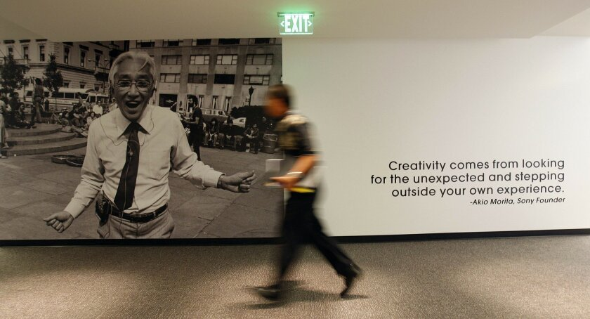 Co-founder Akio Morita and his words are displayed on a hallway wall inside Sony Electronics' new $150 million Rancho Bernardo headquarters, which will be dedicated today in a ceremony attended by Chairman and Chief Executive Howard Stringer. (Sean M. Haffey / Union-Tribune)