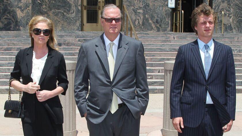 LOS ANGELES, CA - JUNE 16: (L-R) Kathy Hilton, Richard Hilton and Conrad Hilton attend court for Co