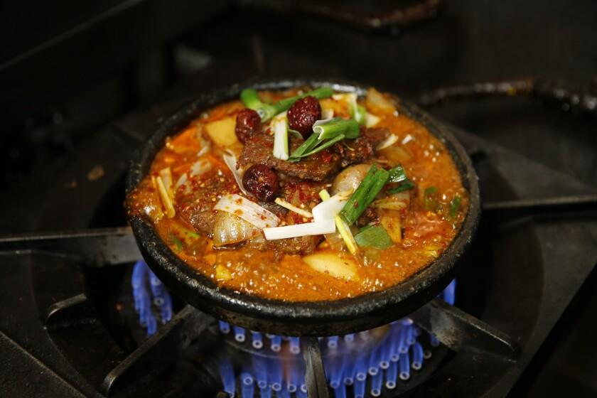 Galbi jjim, a short rib stew, at Sun Nong Dan in Koreatown.