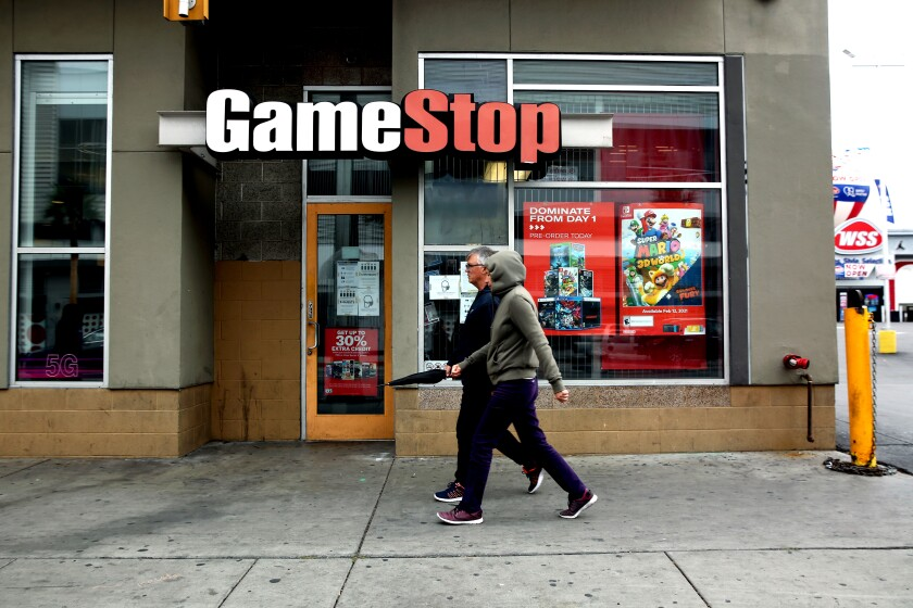 A GameStop store in Hollywood is shown.