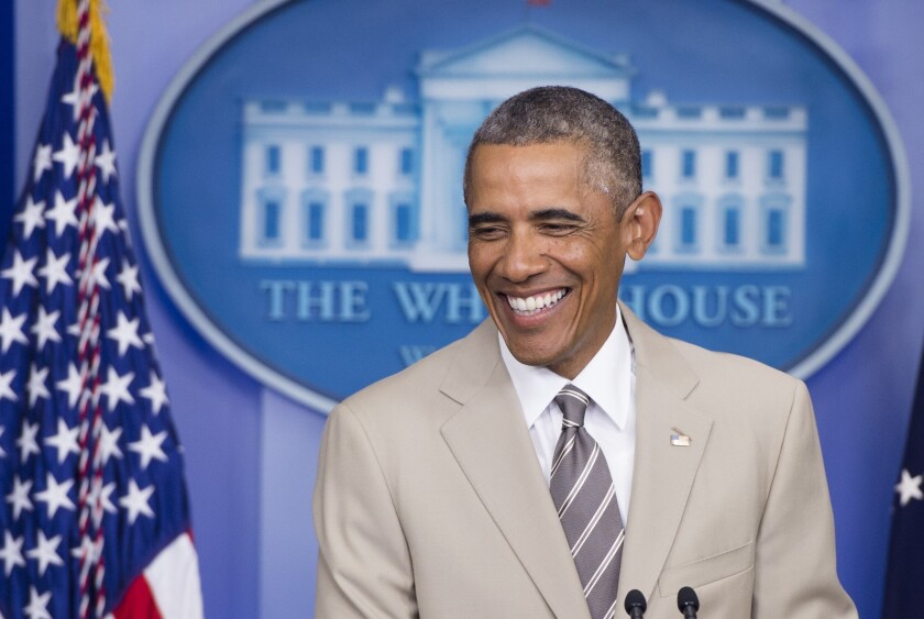 Obama's tan suit: Stop freaking out, Internet, it's actually stylish - Los Angeles Times