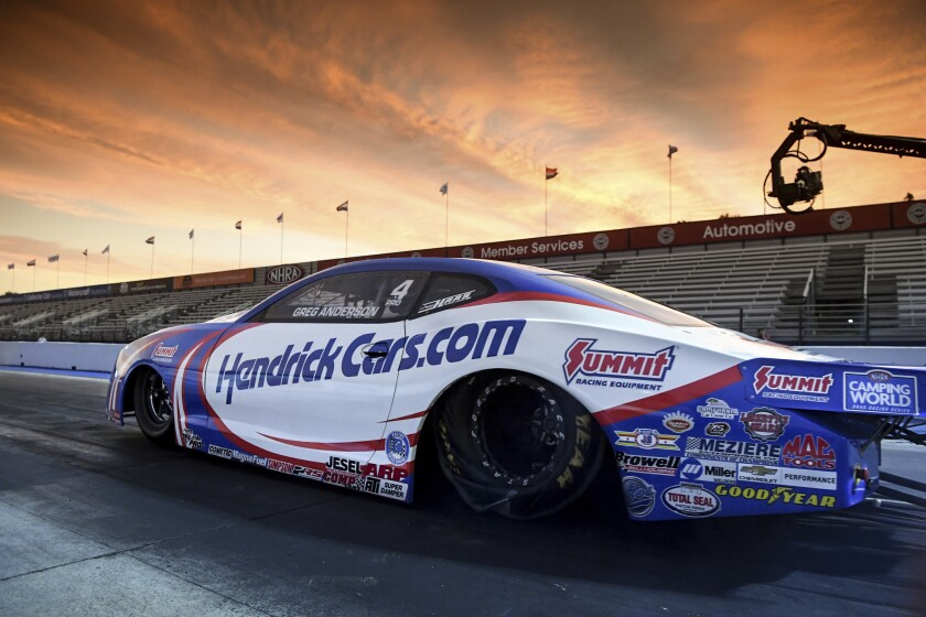 Greg Anderson is pictured in pro stock qualifying July 30, 2021, at Auto Club Raceway in Pomona.