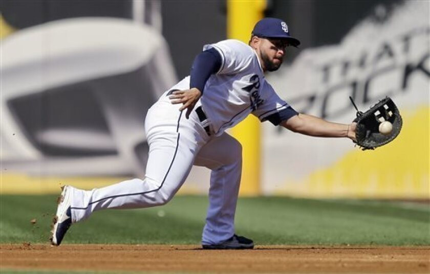 San Diego Padres first baseman Yonder Alonso snares a hard ground ball hit by Pittsburgh Pirates' Neil Walker along the first base line in the first inning of a baseball game on Wednesday, Aug. 21, 2013, in San Diego. Alonso got the out at first. (AP Photo/Lenny Ignelzi)