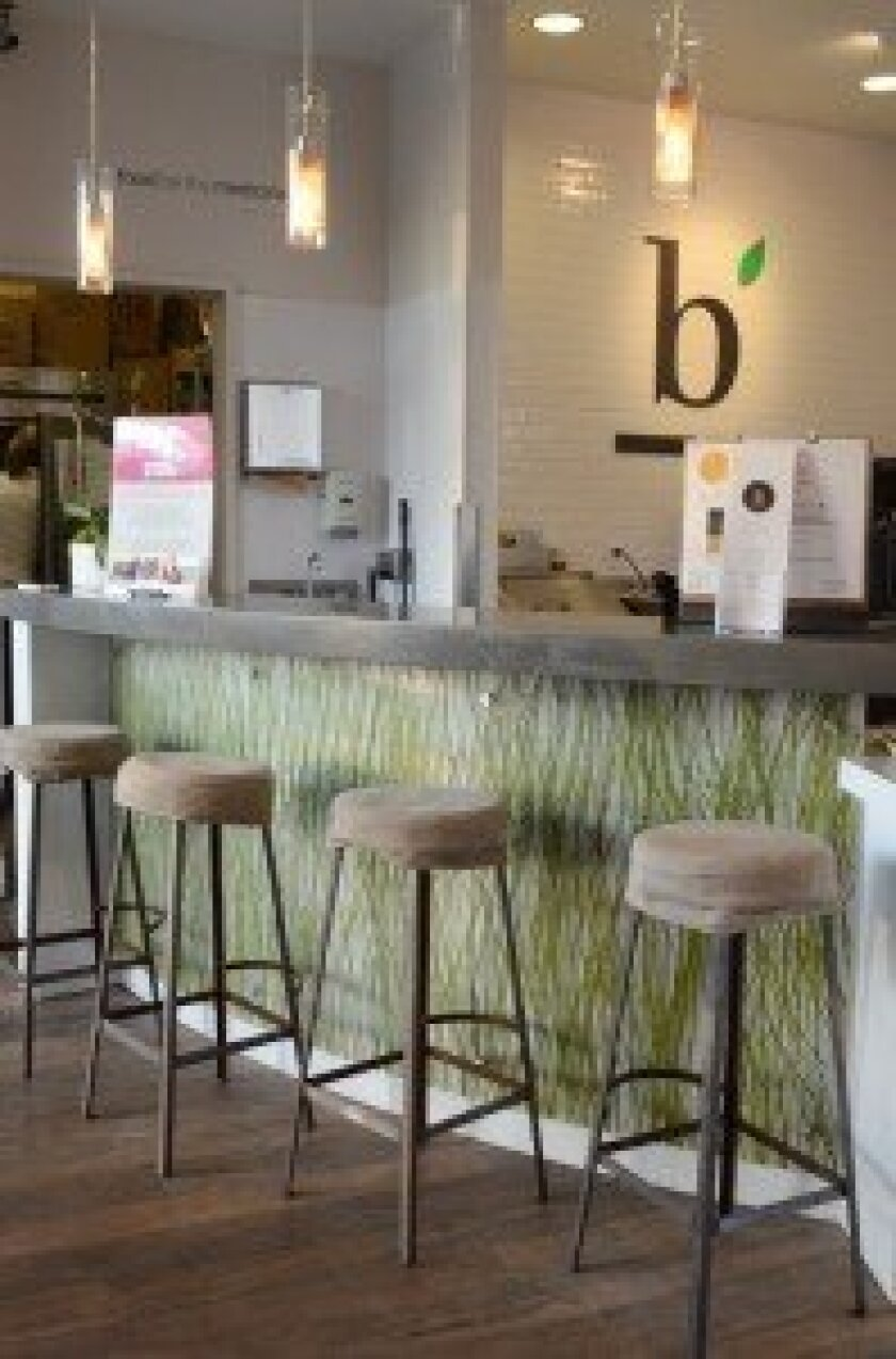 Customers are welcome to sit at bBar's counter and sip on a smoothie or juice.