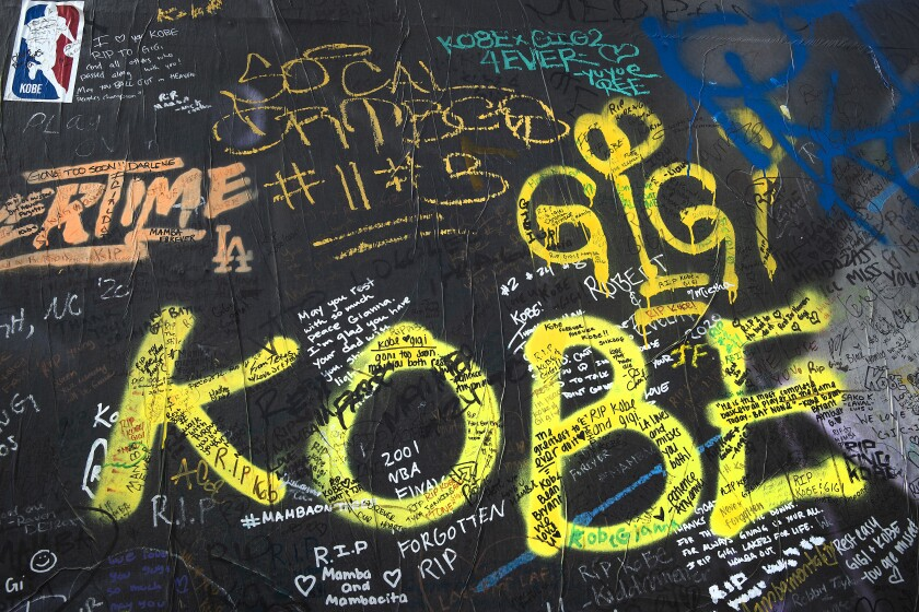 Messages covered a mural honoring Kobe Bryant and his daughter Gianna, in the 1200 block of South La Brea Avenue