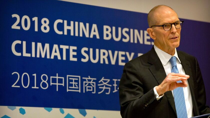 William Zarit, the chairman of the American Chamber of Commerce in China, speaks at a press conference to unveil the group's 2018 China Business Climate Survey Report in Beijing, Tuesday, Jan. 30, 2018.