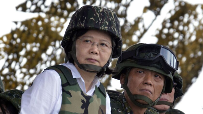 Taiwanese President Tsai Ing-wen, shown watching a live-fire military drill in May 2017, recently called on other nations to ensure that the island remains autonomous.