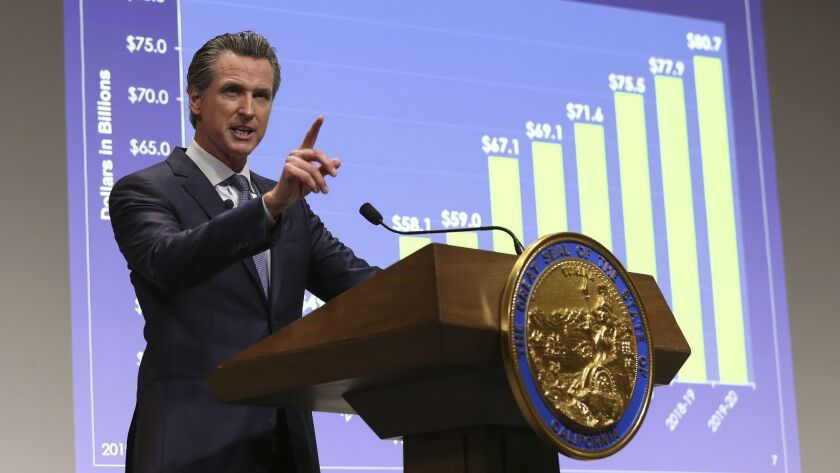 California Gov. Gavin Newsom presents his first state budget during a news conference in Sacramento.