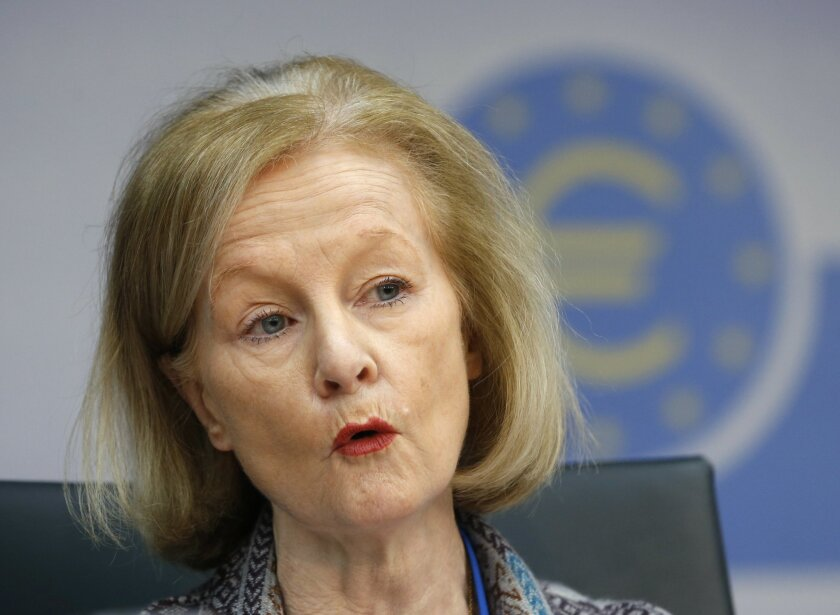 Daniele Nouy, the new ECB official responsible for eurozone-wide banking supervision speaks at the European Central Bank in Frankfurt, Germany, Monday, Feb. 3, 2014. (AP Photo/Michael Probst)