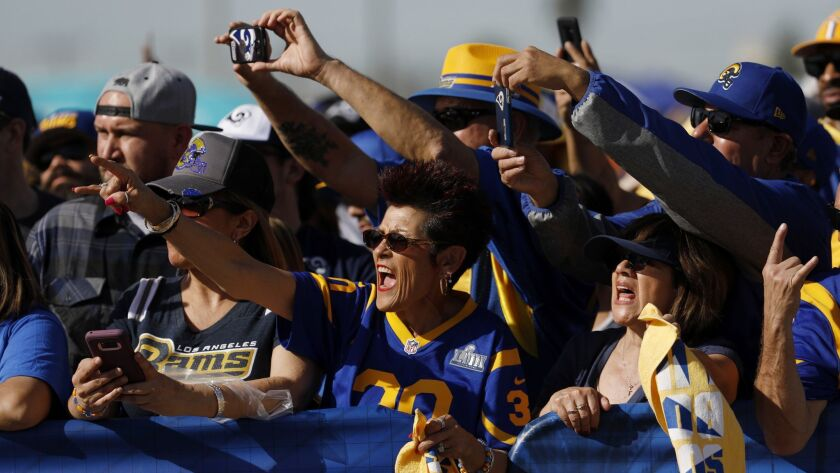 Fans at the Rams Super Bowl send-off in Inglewood on Jan. 27, 2019.