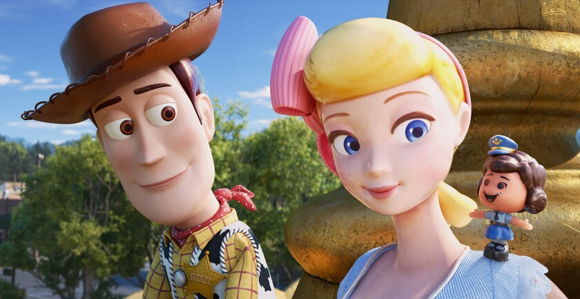 """Woody and Bo Beep (voices of Tom Hanks, Annie Potts) reunite in the new franchise entry """"Toy Story 4."""""""