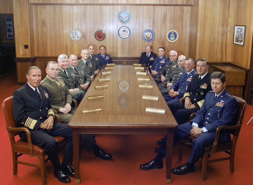 """A photograph of the Joint Chiefs of Staff and several combatant commanders from Michael Moore's film """"Where To Invade Next."""""""