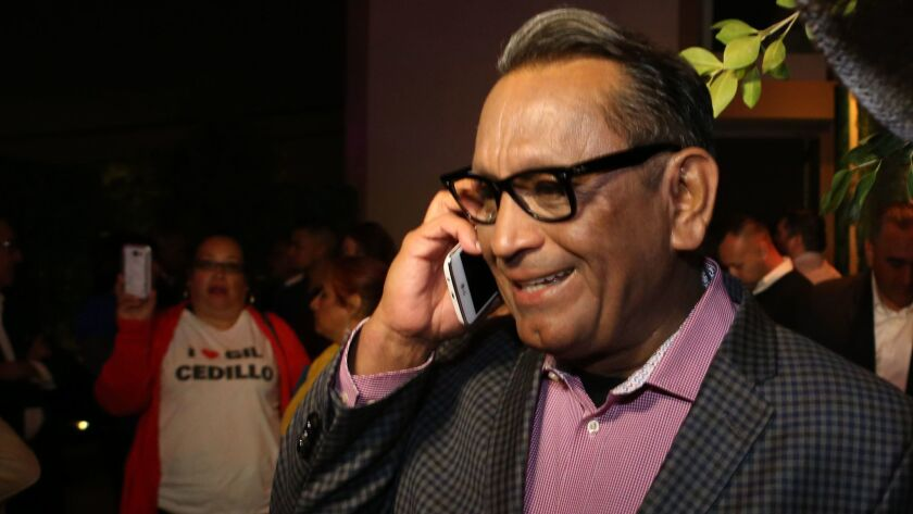 L.A. City Councilman Gil Cedillo was congratulated on the phone during his election night party at