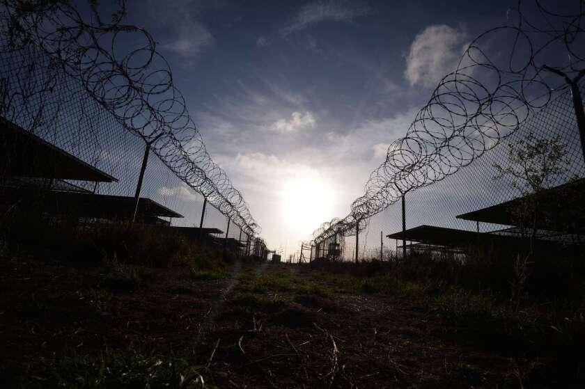 Abandoned Camp X-Ray detention facility at the U.S. Naval Station at Guantanamo Bay, Cuba.