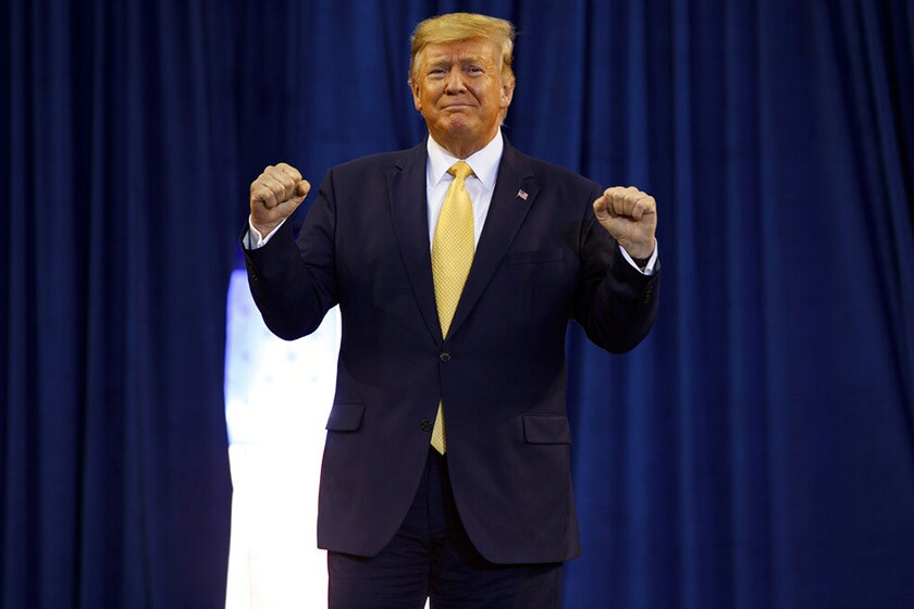 President Trump speaks during a campaign rally at the Lake Charles, La., Civic Center on Friday.