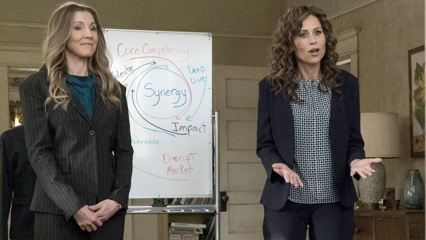 """Guest star Sarah Chalke, left, and Minnie Driver in a new episode of the comedy """"Speechless"""" on ABC."""