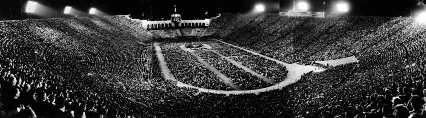 The Los Angeles Memorial Coliseum is filled with people who turned out to hear the Rev. Billy Graham