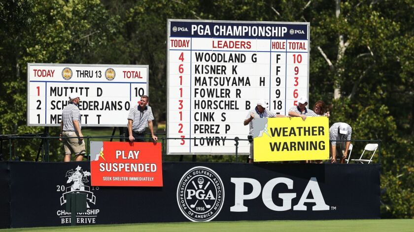 Weather warning signs are seen during the second round of the 2018 PGA Championship at Bellerive Country Club on Friday in St. Louis. Heavy rain eventually forced play to be suspended for the day.