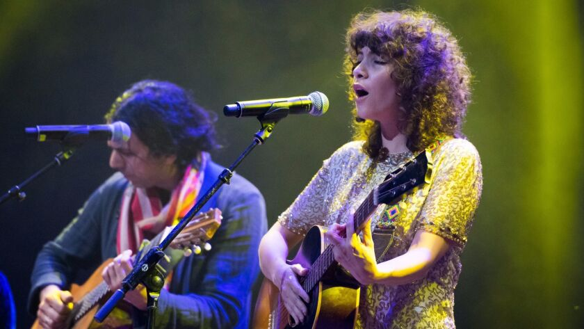 Gaby Moreno performs during an all-star tribute to singer Linda Ronstadt at the Theatre at Ace Hotel in downtown in December.