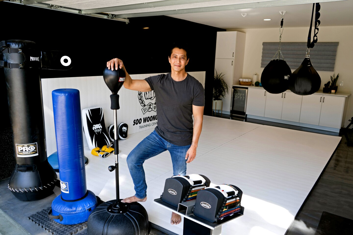 Actor and martial artist Will Yun Lee in the favorite room, the gym, of his home on Jan. 31, 2020. (Jesse Goddard / For The Times)