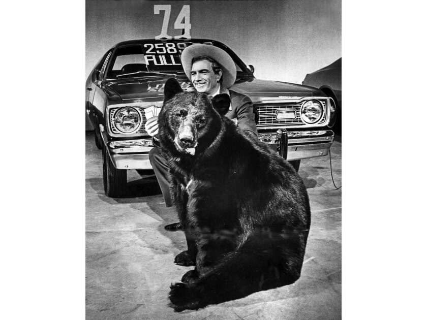 Cal Worthington, the L.A. super-salesman, does his schtick in a TV studio.