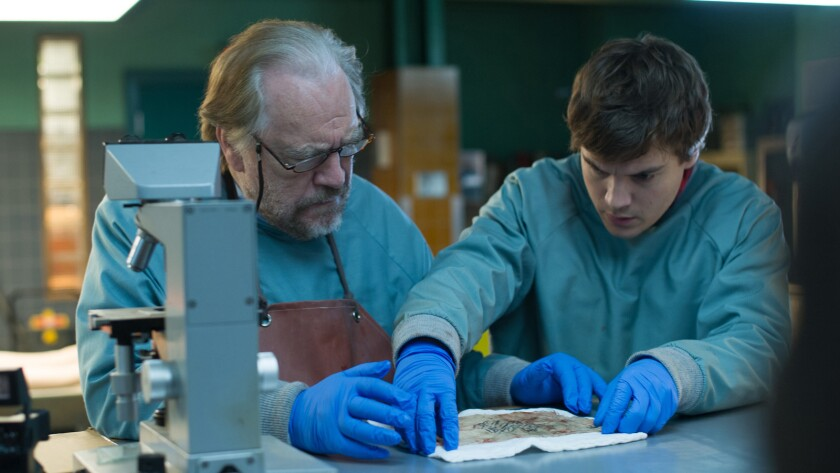 """Brian Cox, left, and Emile Hirsch in the movie """"The Autopsy of Jane Doe."""""""