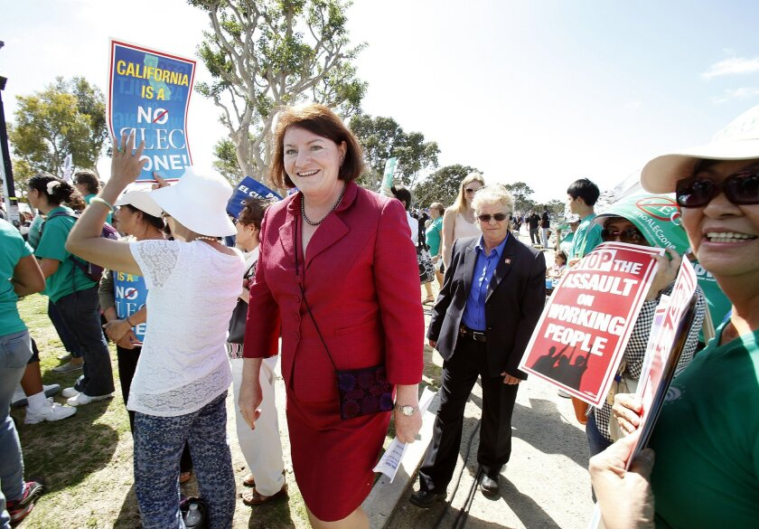 Speaker Toni Atkins, joining a San Diego protest in July of a meeting of the conservative American Legislative Exchange Council.