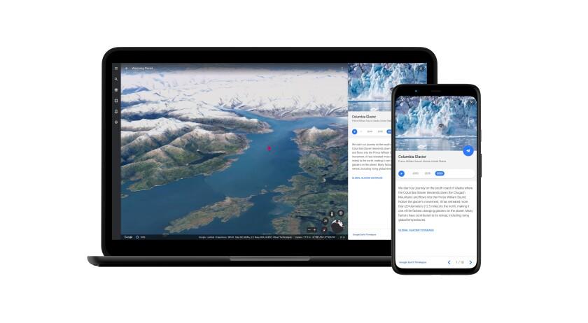 La imagen proporcionada por Google muestra una toma fija del Glacial Columbia en Alaska
