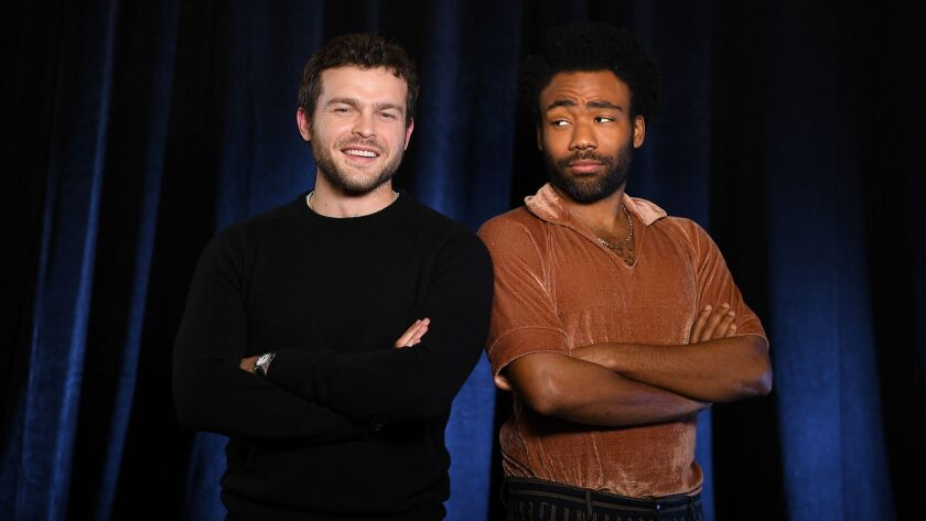 PASADENA, CALIFORNIA MAY 12, 2018-Actors Alden Ethrenreich, and Donald Glover star in the new movie